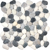 Zen Round Pebble Mosaic - Tranquil Cool Blend