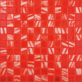 "BRUSHED RED / WHITE • Deco Collection by Vidrepur • Recycled 1"" x 1"" Mosaic Glass Tiles"