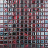 "BRUSHED BLACK / RED IRIDESCENT • Titanium Collection by Vidrepur • Recycled Mosaic 1"" x 1"" Glass Tiles"