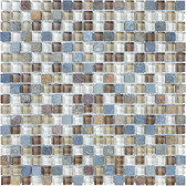"Amber Tea • Bliss Collection by Anatolia Tile & Stone • 5/8"" x 5/8"" • Glass Slate Quartz Blend Mosaics"