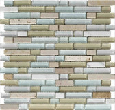 "Travertino Mix Cream (SF515MS) • Stone Medley Collection • 5/8"" Staggered • Glass & Stone Mosaic Tiles"