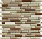 "Travertino Mix Light / Dark • Stone Medley Collection by Lungarno * 5/8"" Staggered • Glass & Stone Mosaic Tiles"