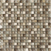 "Travertino Mix Light Emperador • Stone Medley Collection by Lungarno • 5/8"" x 5/8"" • Glass & Stone Mosaic Tiles"