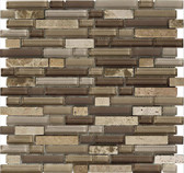 "Travertino Mix Light Emperador • Stone Medley Collection by Lungarno • 5/8"" Staggered • Glass & Stone Mosaic Tiles"