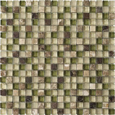 "Dark / Light Emperador Green • Stone Medleys Collection by Lungarno • 5/8"" x 5/8"" • Glass & Stone Mosaic Tiles"