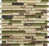 "Dark/Light Emperador Green • Stone Medley Collection by Lungarno • 5/8"" Staggered • Glass & Stone Mosaic Tiles"