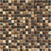"Dark / Light Emperador Blend • Stone Medley Collection by Lungarno • 5/8"" x 5/8"" • Glass & Stone Mosaic Tiles"