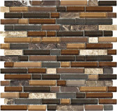 "Dark / Light Emperador Blend • Stone Medley Collection by Lungarno • 5/8"" Staggered • Glass & Stone Mosaic Tiles"
