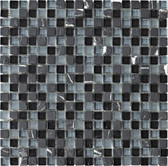 "Black Marquina • Stone Medley Collection by Lungarno • 5/8"" x 5/8"" • Glass & Stone Mosaic Tiles"
