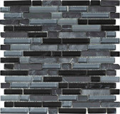 "Black Marquina • Stone Medley Collection by Lungarno • 5/8"" Staggered • Glass & Stone Mosaic Tiles"