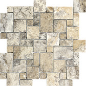 Picasso Travertine Honed | Mini Versailles Mosaic Tile