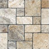 Picasso Travertine Tumbled | Roman Pattern Mosaic Tile