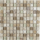 "Luce • Stone Medley Collection by Lungarno • 1"" x 1"" • Glass & Stone Mosaic Tiles"