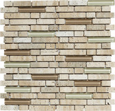 """Luce • Stone Medley Collection by Lungarno • 5/8"""" Staggered • Glass & Stone Mosaic Tiles"""