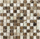 "Mezzo • Stone Medley Collection by Lungarno • 1"" x 1"" • Glass & Stone Mosaic Tiles"