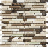 "Mezzo • Stone Medley Collection by Lungarno • 5/8"" Staggered • Glass & Stone Mosaic Tiles"