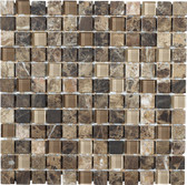 "Scuro • Stone Medley Collection by Lungarno • 1"" x 1"" • Glass & Stone Mosaic Tiles"