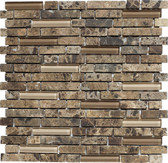 """Scuro • Stone Medley Collection by Lungarno • 5/8"""" Staggered • Glass & Stone Mosaic Tiles"""