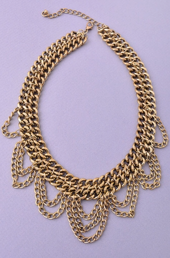 Antique Gold Chained Up Statement Necklace