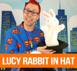 Lucy Rabbit in Hat with Book & Props - Everything you need for a  great puppet routine