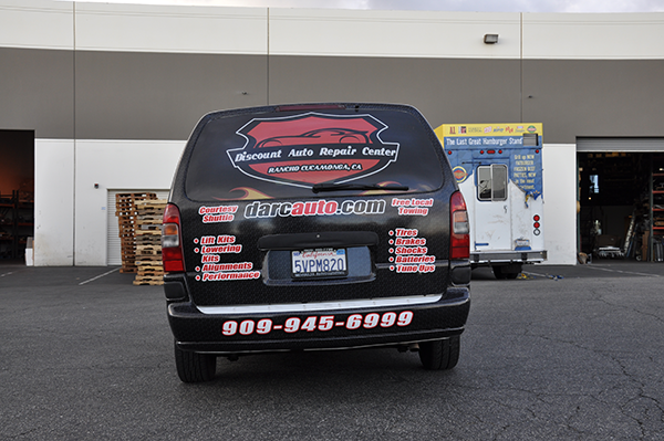 chevy van vehicle wrap using gf for discount auto center. Black Bedroom Furniture Sets. Home Design Ideas