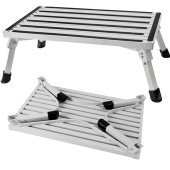 Made from sturdy aluminium, this step is extra wide for stability and safety. It has non-skid strips on the tread to ensure no nasty slips. The legs fold out / in making it extra convenient whilst traveling. Rubber feet not only ensure that the step does not move while being used but it also serves to protect the surface the step is being used on.
