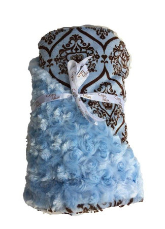 Cozy Faux Baby Blanket Light Blue and Chocolate Crowns