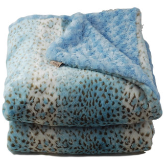 Cozy Faux - Light Blue Snow Leopard