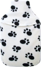 Paw Print Cosy Fleece 1L Mini Hot Water Bottle & Cover