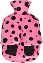 Cuddlesoft Hot Water Bottle Footwarmer: Pink & Black Spots