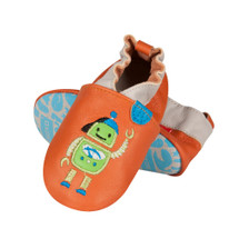 Baby Boys All Leather Shoe Slippers: Orange Robot
