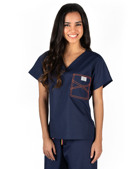 Limited Edition Shelby Scrub Tops - Navy with Neon Orange Stitching
