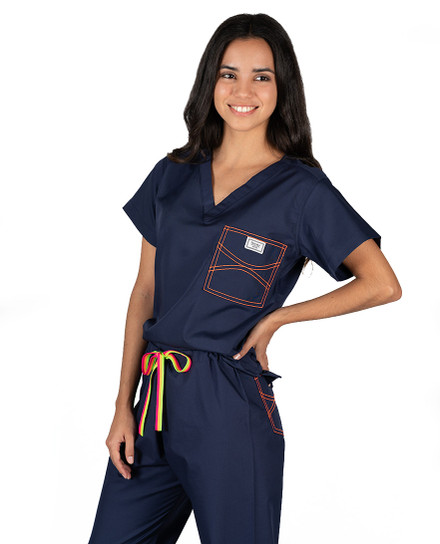 Limited Edition Shelby Scrub Pants - Navy with Neon Orange Stitching and Neon Striped Tie