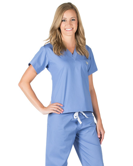 Ceil Blue Scrub Top - Petite Grey Label