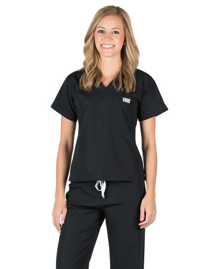 Black Scrub Top - Petite Grey Label