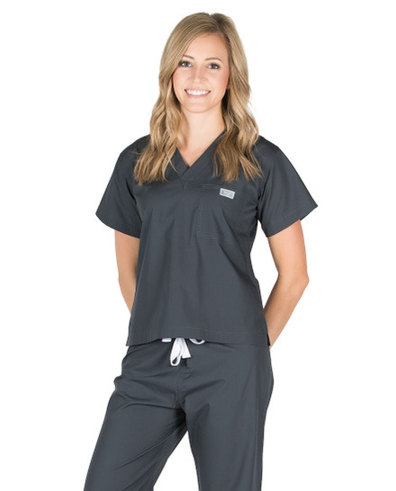 Pewter Scrub Top - Petite Grey Label