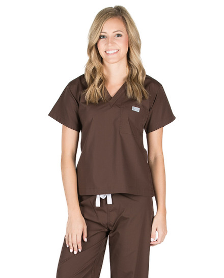 Chocolate Scrub Top - Petite Grey Label