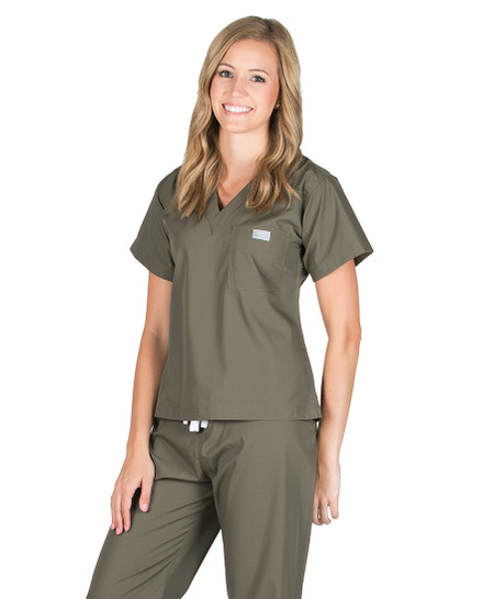 Olive Scrub Top - Petite Grey Label