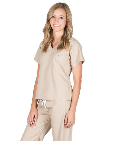 Khaki Scrub Top - Petite Grey Label