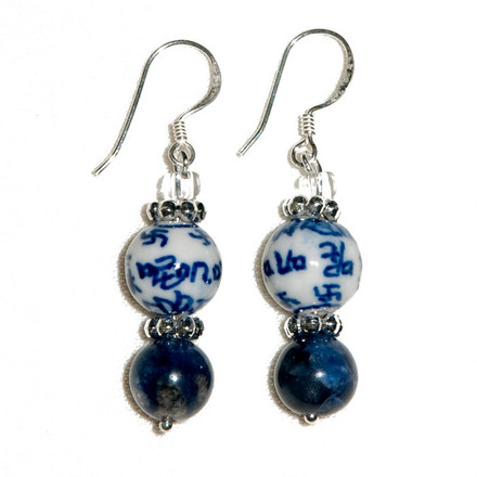 Chinoisery blue sky Luxe Earrings
