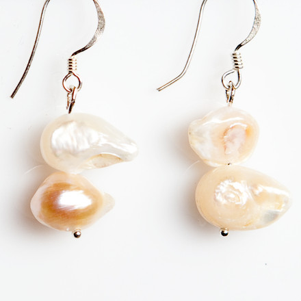 Rugged Freshwater Pearls blue sky Luxe Earrings