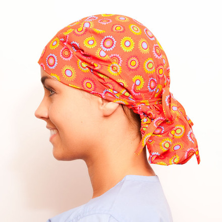 Orange Slush Poppy Scrub Hat