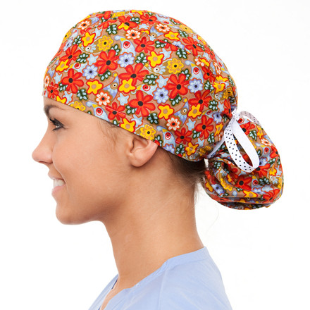 Amber Blooms Pony Scrub Hat