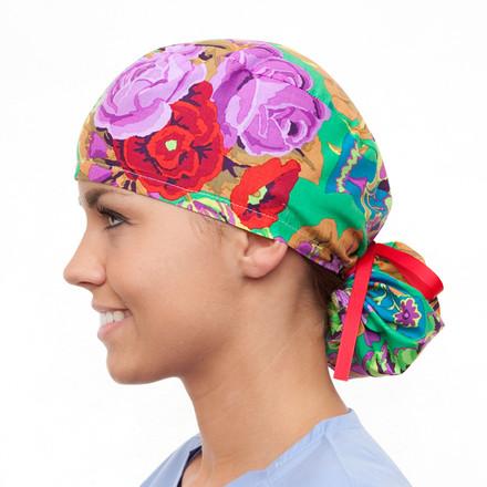A Dozen Roses Pony Scrub Hat