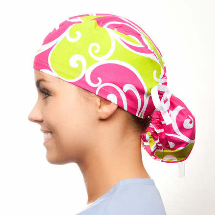 Love Lodge pony tail surgical scrub hat for women