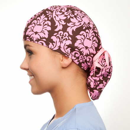 Cocoa Damask pony tail surgical scrub hat for women