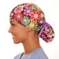Bohemian Blooms pony tail surgical scrub hat for women