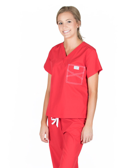 Sun-Kissed Scarlet Scrub Top