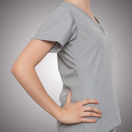 Grey Scrubs Top - Petite Grey Label