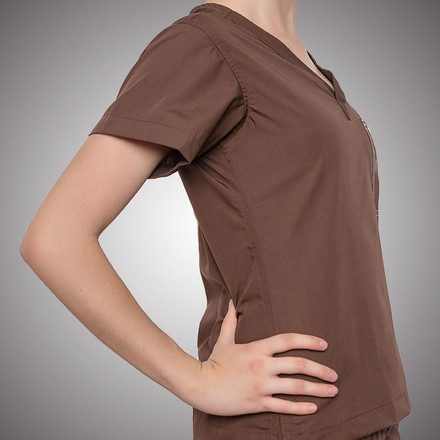 Chocolate Scrubs Top - Petite Grey Label